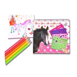 Värviraamat hobused roosa